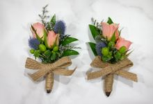 Boutonniere and Wrist Corsage by d'eufloria