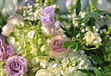 Romantic Lush Garden in White Lilac by magical blossoms