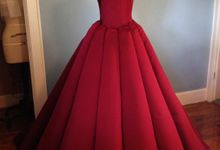 Couture Red Contemporary Ballgown by Desiree Spice