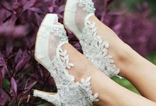 White Winged Lace Wedding Shoes by Little L