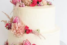 Party Cake - Frosted Cake with Imported Flowers by Lareia Cake & Co.
