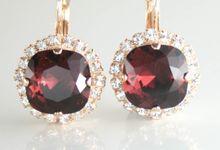 Cushion Cut  Square Swarovski Crystal Halo earrings by Endora Jewellery Design