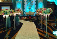 Blue Ambience Wedding Decoration by Grand Avilla Ballroom