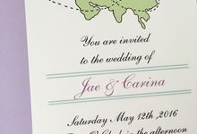 Long distance wedding invitations by Fancy Paperie