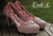 Pink Lace Swarovski Wedding Shoes by Little L