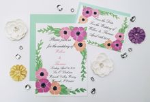 Pastel floral wedding invitation set by Fancy Paperie