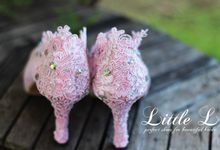 Soft Pink Lace Swarovski Wedding Shoes by Little L