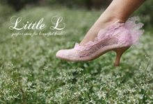 Pink Flare Lace Wedding Shoes by Little L