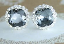 Cushion Cut  Square Swarovski Crystal Halo earrings by Endora Jewellery Design
