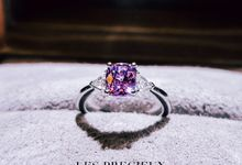 CUSHION PINK SAPPHIRE WITH TRILLIONS ENGAGEMENT RING by LES PRECIEUX