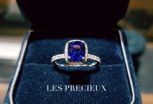 UNHEATED CUSHION VIVID BLUE SAPPHIRE ENGAGEMENT RING by LES PRECIEUX