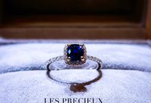 UNHEATED ROYAL BLUE SAPPHIRE PINK HALO ENGAGEMENT RING by LES PRECIEUX