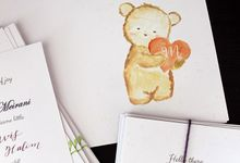 Mavis One Month Birth Announcement by Meilifluous Calligraphy & Design