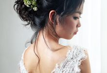 Natural Eyelid Enhancement Makeup Romantic Chic Floral Bridal Updo Hairstyles by Sylvia Koh Makeup and Hairstyling