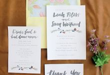 Leah & Sam in Burgundy and Navy Floral Vine by Meilifluous Calligraphy & Design