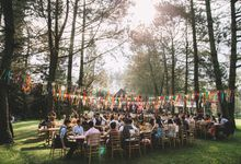 Quirky Boho Wedding in Pine Forest by fire, wood & earth