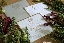 Jimmy & Febriana - Classic elegant grey wedding invitation by Bluebelle Invitations