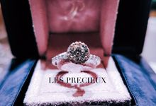 Perfect Super Ideal Cut Round Diamond set in Micropave Pink Diamond Halo Engagement Ring by LES PRECIEUX