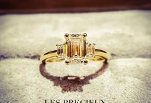 Emerald Cut Diamond Three Stone Engagement Ring by LES PRECIEUX