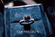 Cushion Cornflower Blue Sapphire Engagement Ring by LES PRECIEUX
