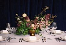 Jewel-Toned Centrepieces by Stone House Creative
