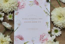 Mark & Aileen - Rose Quartz Floral Invitation by Bluebelle Invitations