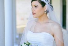 Juliet cap veil with applique by Madame Tulle