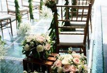 Rooftop Water Wedding at Anantara Seminyak by Bali Izatta Wedding Planner & Wedding Florist Decorator