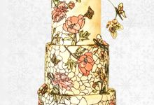 Three Tier Hand Painted Stained Glass by Ivoire Cake Design
