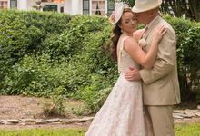 Vintage Inspired Beaded Lace Wedding Dress with Draping Pearls by Desiree Spice