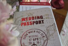 Travel Theme Passport Wedding Invitation - Red and Gold by Acadia Card