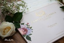 Samuel & Yessica - pink floral wedding invitation by Bluebelle Invitations