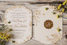 Terry & Nina Gold Wedding Invitation by Bluebelle Invitations