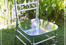 Silver leaf and Gold leaf Tiffany Chairs by TIFFANY BALI Wedding Rentals
