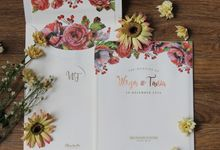 Wirya & Tania - Wood with a hint of red wedding invitation by Bluebelle Invitations