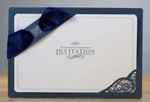 Navy Blue Ribbon Layered Modern Wedding Invitations - YM709 by Itsinvitation