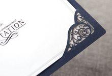 Navy Blue Ribbon Layered Modern Wedding Invitations - YM709 by Itsinvitation
