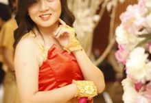 Red Gold gown by Various Dance Enterprise