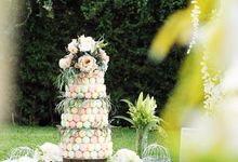 Febri & Fania's Wedding: Macaron Tier Wedding Cake by Sukha Delights