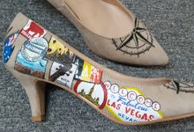 Travel Themed Handpainted Wedding Shoes by TMP Custom Shoe Studio