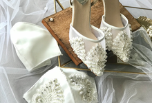Customised Couple's mask with Wedding Shoes by Aveda Footwear