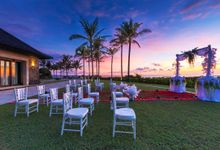 Sunset Wedding Set Up by Nirwana Villa Estate