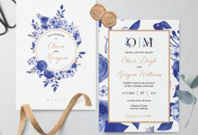 Blue Floral by Trouvaille Invitation