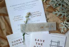 Donny & Audina Grey and Gold wedding invitation by Bluebelle Invitations