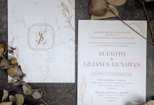 Suinoto & Liliani Marble Wedding Invitation by Bluebelle Invitations