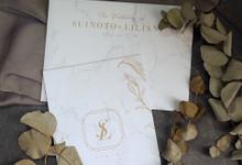 Suinoto & Liliani Marble Wedding Invitation by Bluebelle Invitations