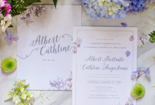 Albert & Cathline wedding invitation by Bluebelle Invitations