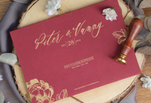 Piter & Vanny Classic Red & Gold Invitation by Bluebelle Invitations
