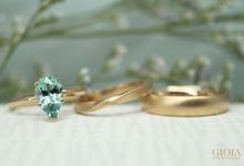 Tourmaline Engagement Ring with Wedding bands by GIOIA FINE JEWELLERY