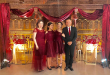 Family dresses in tulle maroon prisket by Boenga Bridal Couture
